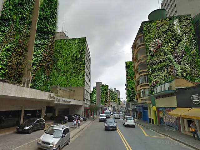 Levantamento mostra que 500 paredões do centro de SP poderiam virar jardins suspensos