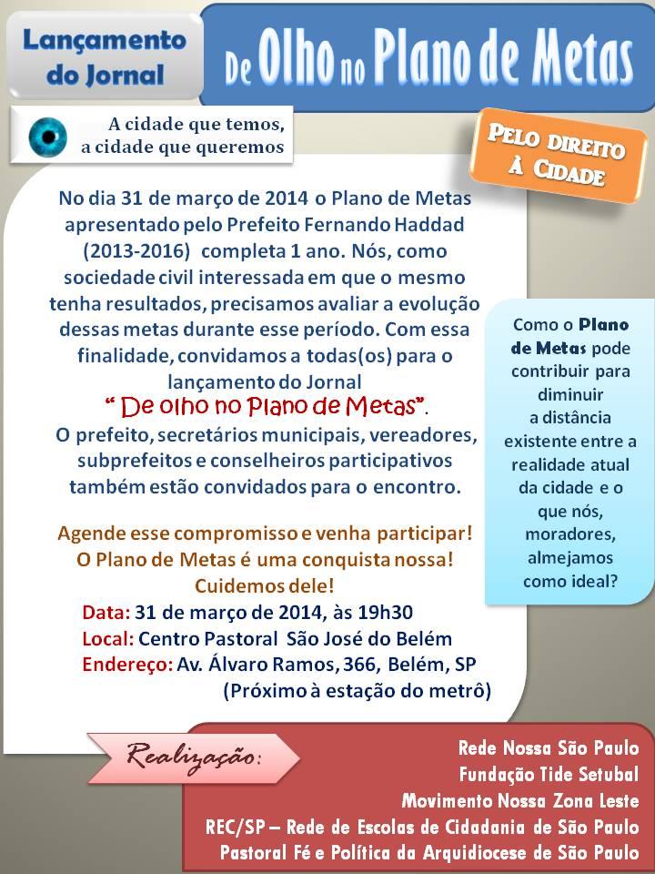 """Organizações promovem evento """"De olho no Plano de Metas"""" nesta segunda. Participe!"""