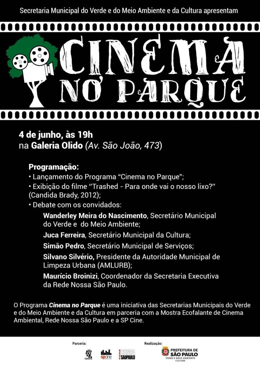 Prefeitura e organizações da sociedade civil lançam Programa Cinema no Parque