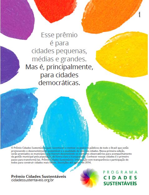 Já estão abertas as inscrições para o Prêmio Cidades Sustentáveis