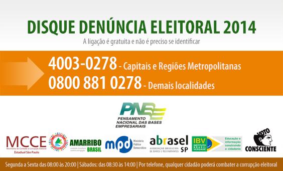 Cidadãos podem relatar irregularidades nas eleições ao Disque Denúncia Eleitoral