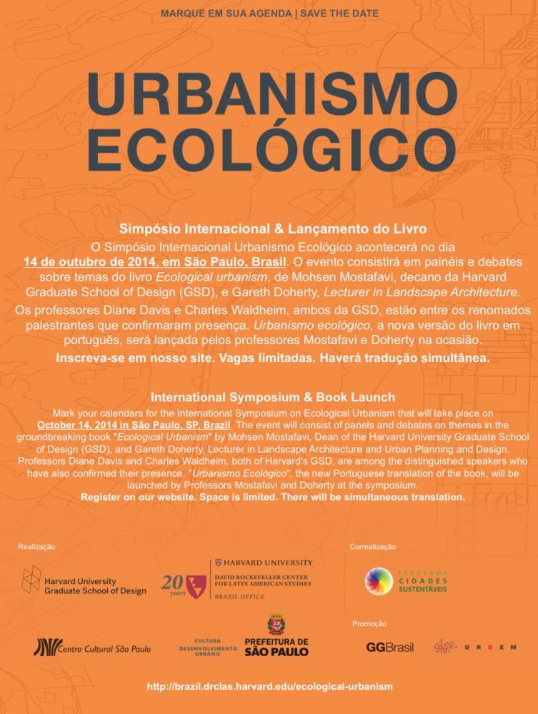 Simpósio Internacional sobre Urbanismo Ecológico será realizado em São Paulo