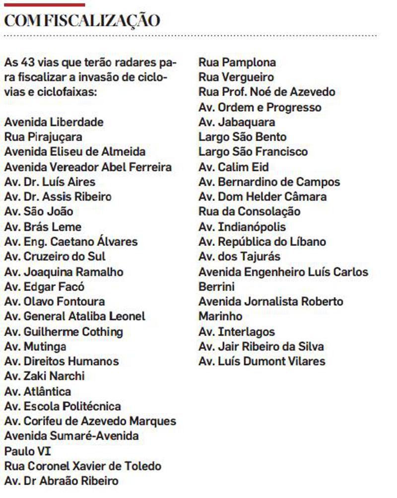 43 pontos com ciclovias na capital paulista terão radares