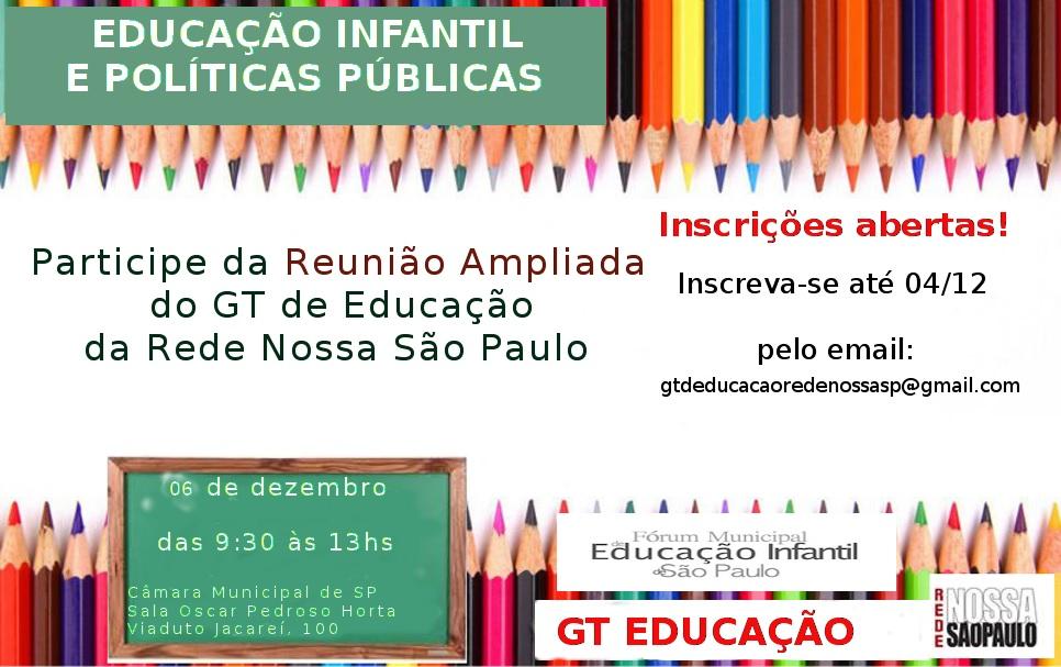 Inscrições para participar da reunião ampliada do GT Educação da RNSP vão até quinta