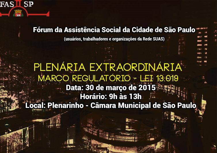 Plenária do Fórum da Assistência Social da Cidade de São Paulo será na segunda-feira
