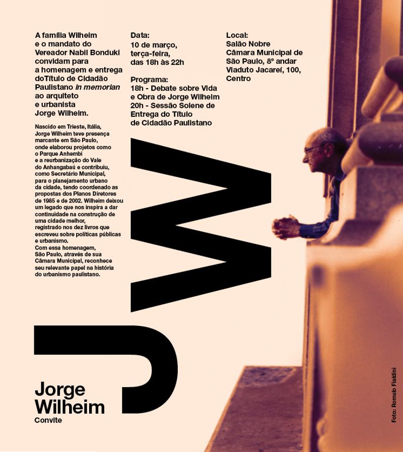 Câmara Municipal de São Paulo fará homenagem a Jorge Wilheim in memorian