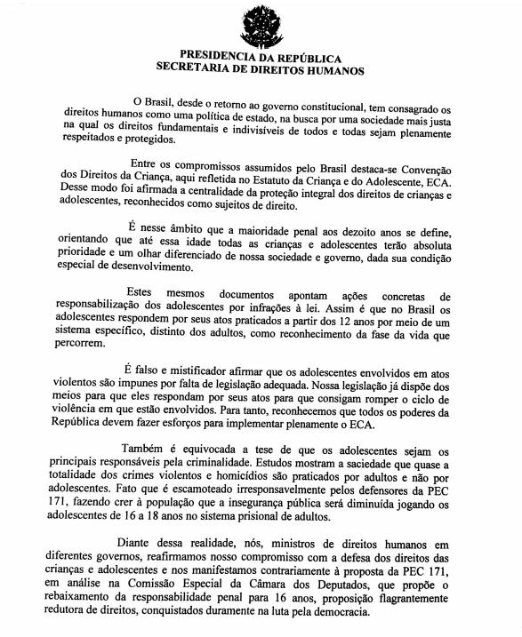 Ministros de Direitos Humanos assinam carta contra a redução da maioridade penal