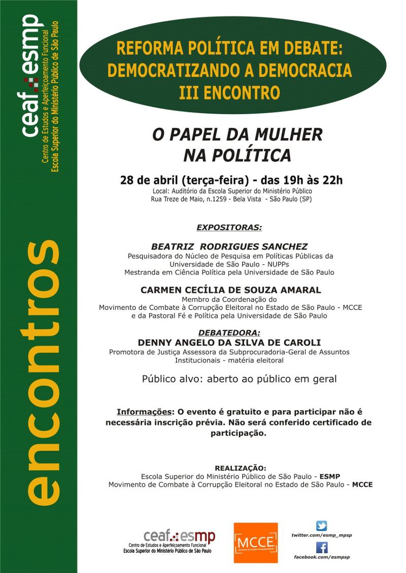 O papel da mulher na política será tema de debate nesta terça-feira