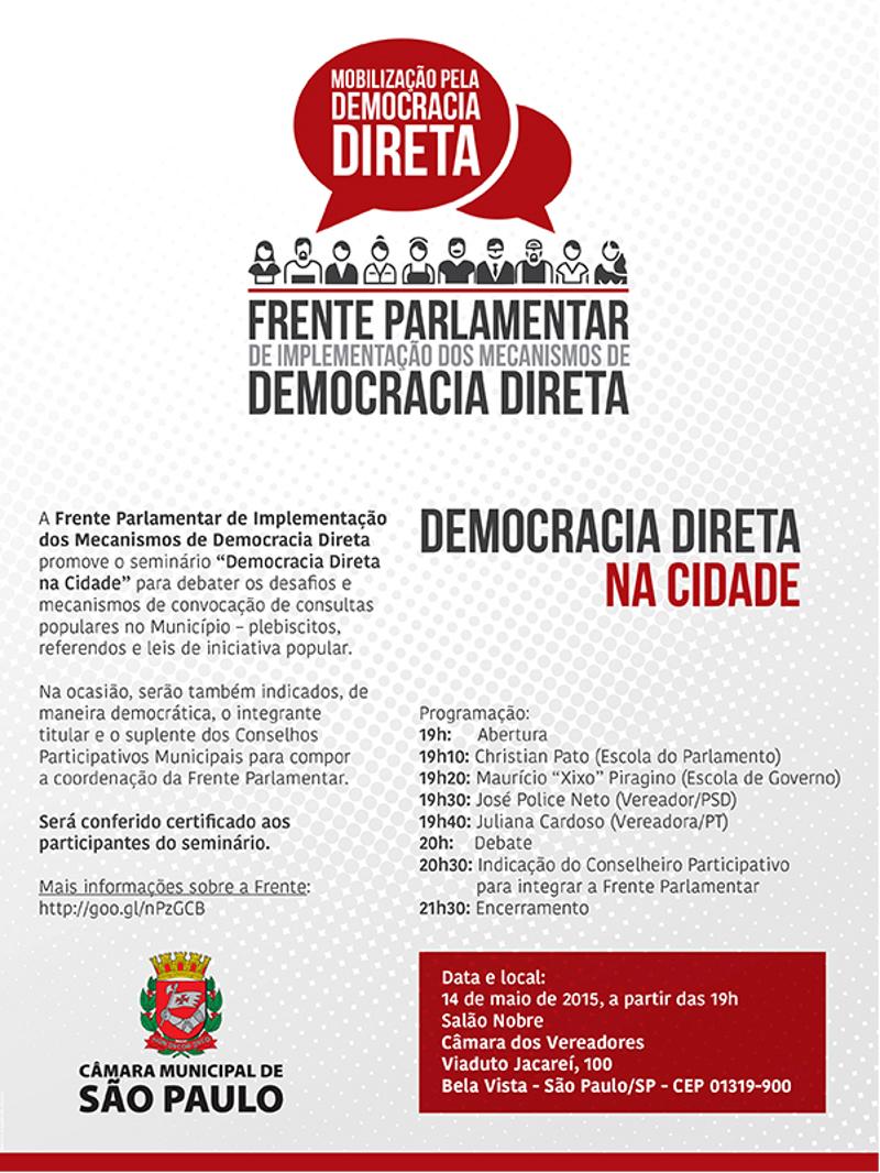 """Seminário """"Democracia Direta na Cidade"""" debaterá regulamentação de plebiscitos"""