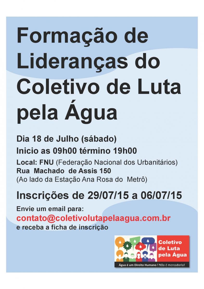 Coletivo de Luta pela Água promove curso para formação de Lideranças