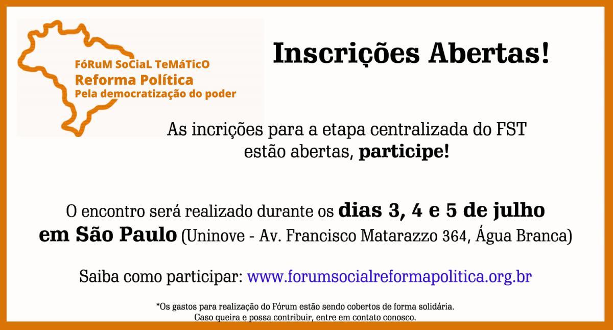 Participe do Fórum Social Temático pela Reforma Política