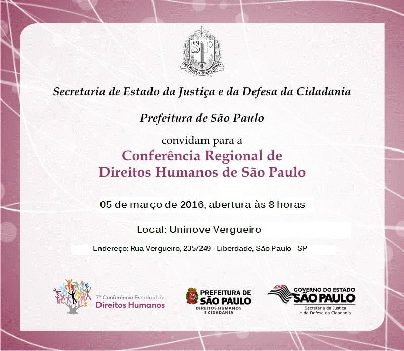 Participe da 2ª Conferência Regional de Direitos Humanos de São Paulo
