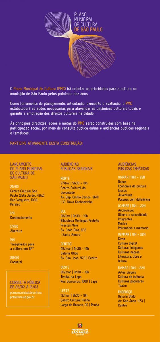 Audiências públicas de lançamento do Plano Municipal de Cultura de São Paulo
