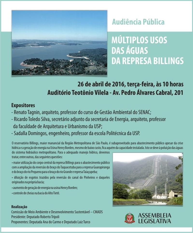 Audiência pública: Múltiplos usos das águas da Represa Billings