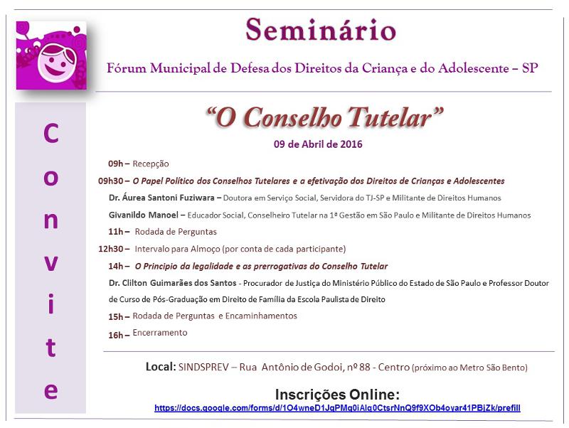 Seminário do Fórum de Defesa dos Direitos da Criança e do Adolescente será sábado