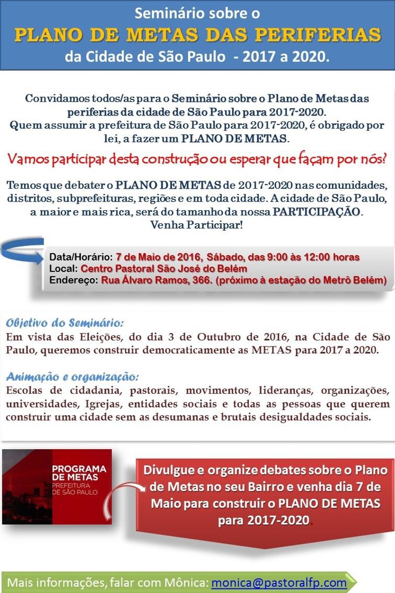Seminário sobre o Plano de Metas das Periferias da Cidade de São Paulo