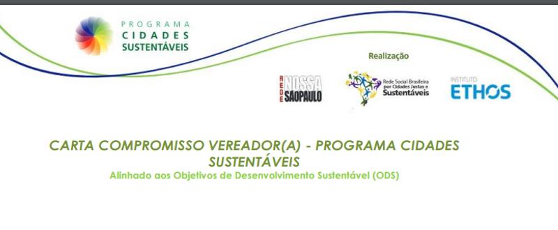 Programa Cidades Sustentáveis disponibiliza nova carta compromisso para pré-candidatos a vereador