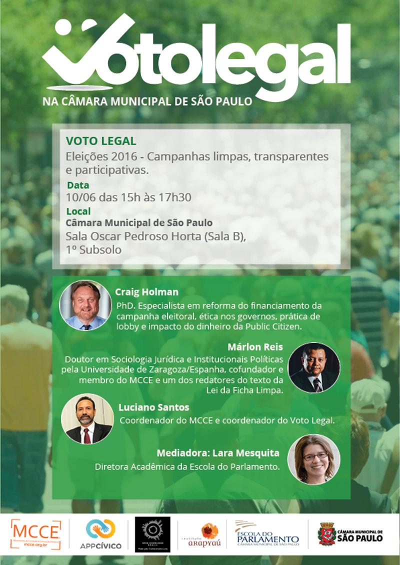 """Evento """"Voto Legal"""" na Câmara Municipal de São Paulo"""