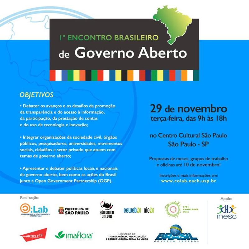 I Encontro Brasileiro de Governo Aberto acontece dia 29/11, em São Paulo