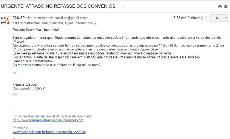 Fórum de Assistência Social denuncia atraso de repasses da Prefeitura de São Paulo