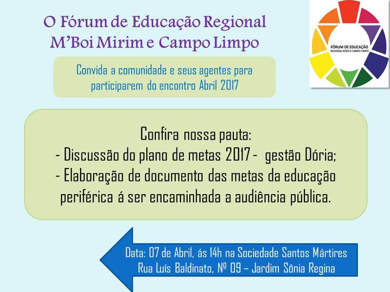 Plenária do Fórum de Educaçaõ do M'Boi Mirim e Campo Limpo discutirá plano de metas