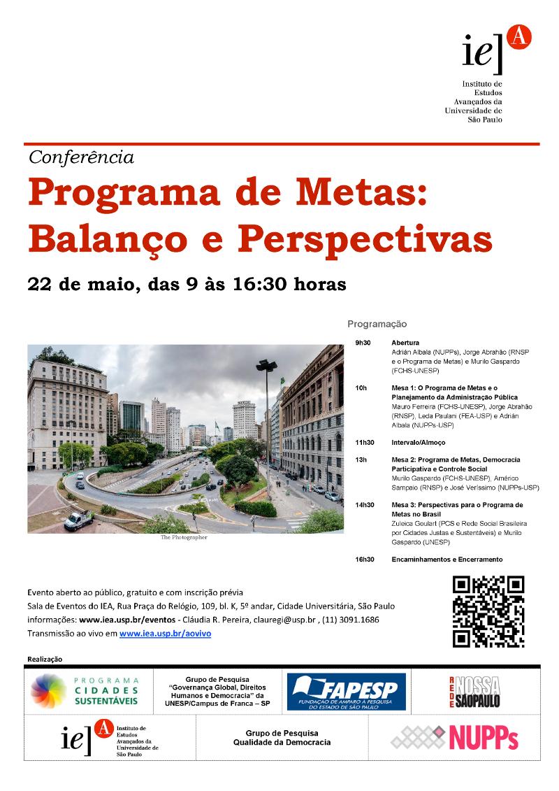 Programa de Metas da cidade de São Paulo é tema de seminário na USP