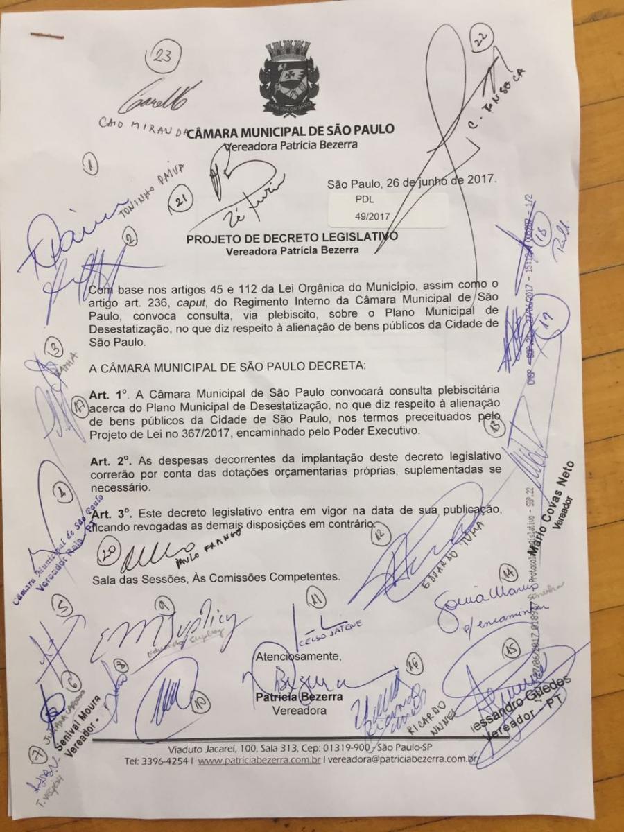 Proposta de plebiscito sobre as privatizações pretendidas pela Prefeitura ganha apoio de 25 vereadores