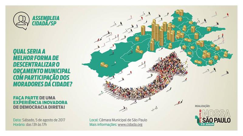 Participe da Assembleia Cidadã sobre a Descentralização do Orçamento da cidade de São Paulo