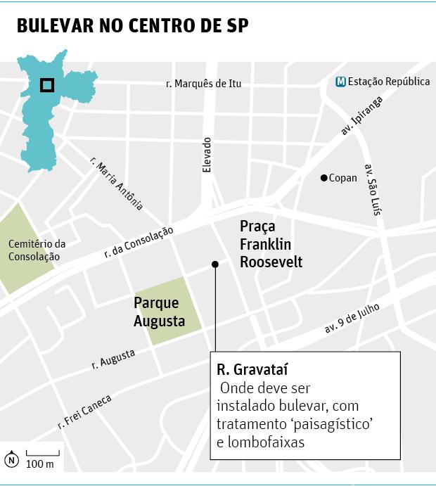 Doria planeja corredor verde entre o parque Augusta e a praça Roosevelt