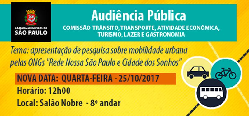 Audiência Pública para discutir pesquisa sobre mobilidade urbana será dia 25