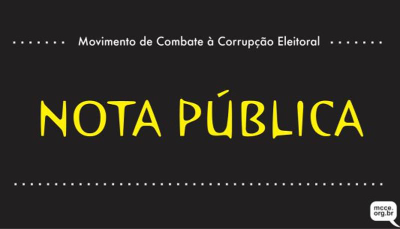 Nota do MCCE contra o autofinanciamento das campanhas eleitorais