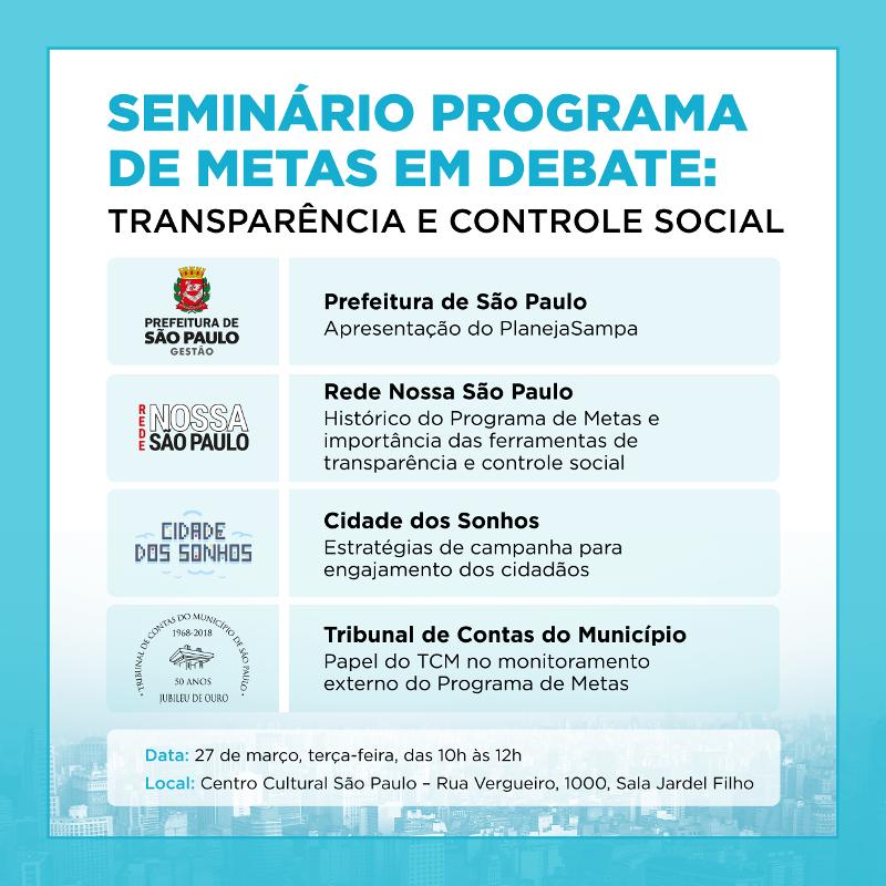 Prefeitura de São Paulo promove seminário sobre transparência e controle social do Plano de Metas
