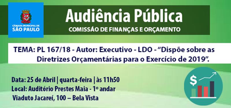 Comissão de Finanças realiza 1ª Audiência Pública sobre a LDO nesta quarta-feira