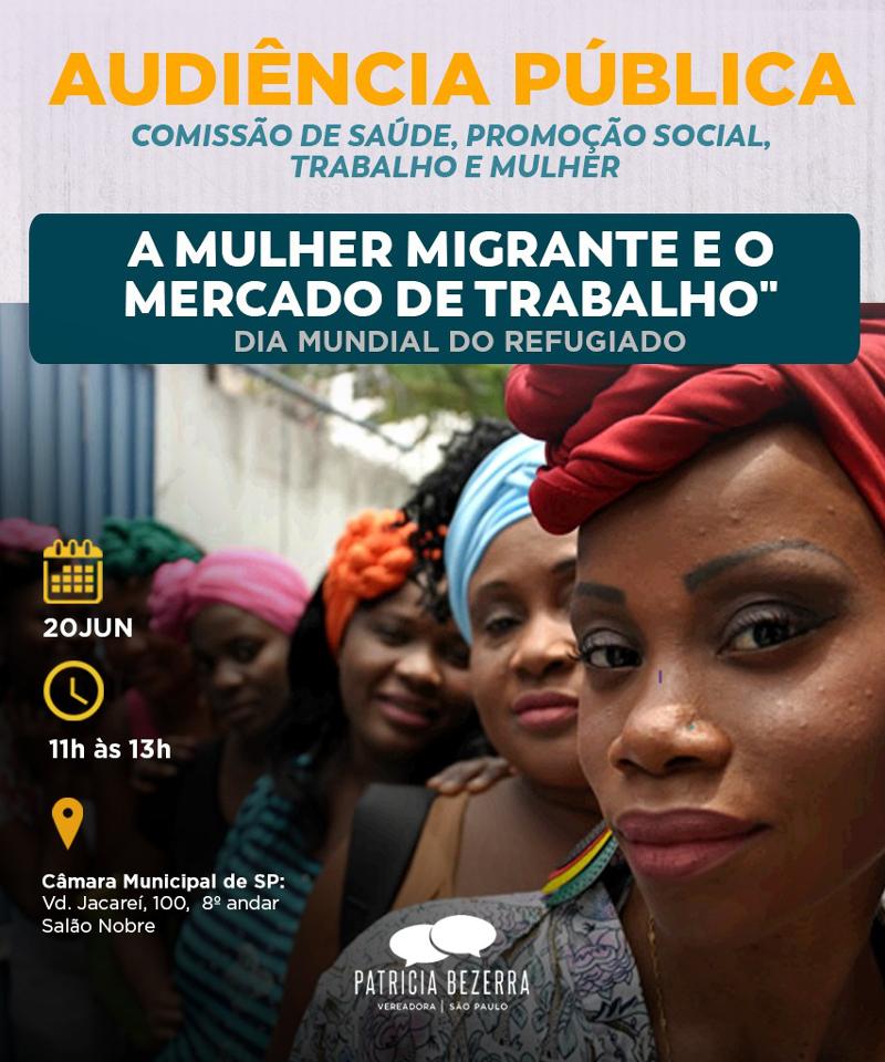 """Audiência pública debaterá o tema """"mulher migrante e o mercado de trabalho"""" em São Paulo"""
