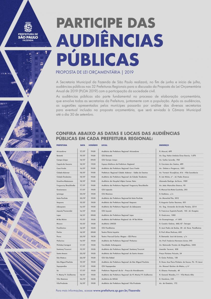 Prefeitura promove audiências públicas regionais sobre o orçamento de São Paulo para 2019
