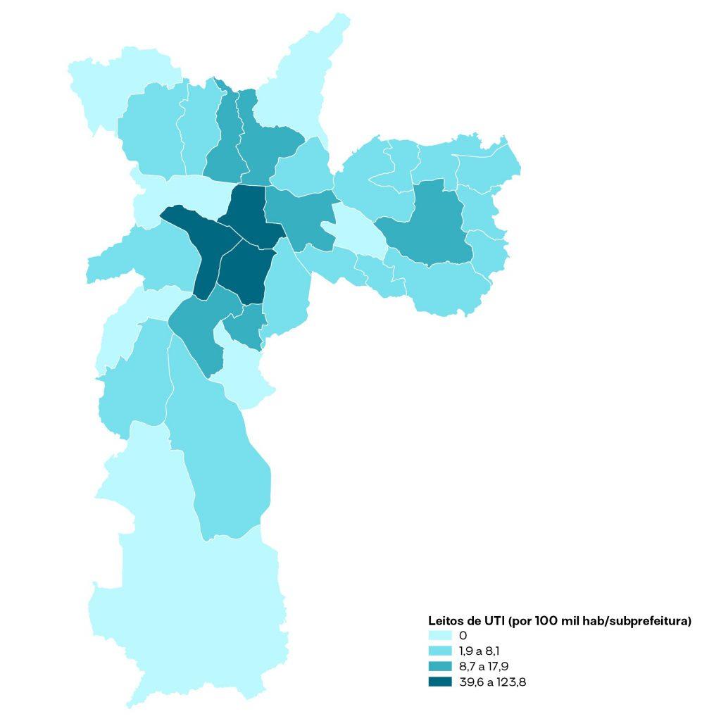 Três subprefeituras da cidade de São Paulo concentram 60% dos leitos de UTI
